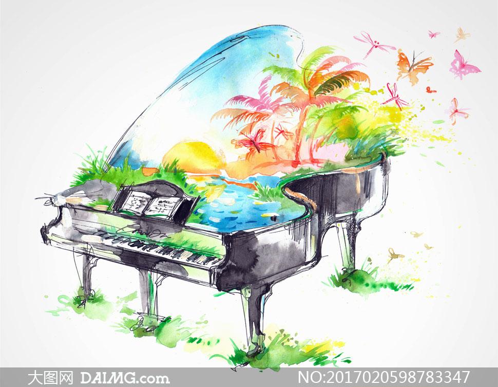 风景钢琴水彩绘画创意设计高清图片图片