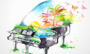 风景钢琴水彩绘画创意设计高清图片