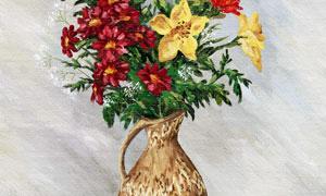 花瓶静物特写绘画创意设计高清图片