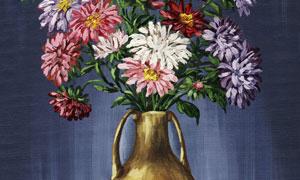 绿叶鲜花插花绘画作品创意高清图片