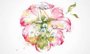 人物与粉红色花朵绘画创意高清图片