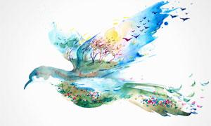 飞鸟与芳草地双重曝光效果绘画图片