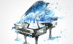 水彩喷溅元素钢琴绘画创意高清图片