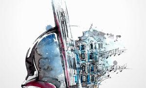 小提琴与城市街区绘画创意高清图片