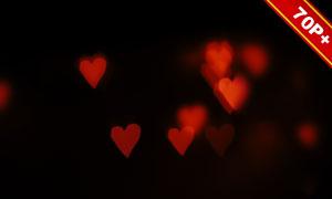 心形元素情人节等散景元素高清图片
