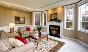 欧式风格客厅内景照明摄影高清图片