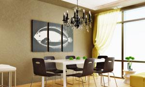 餐厅房间里的无框画等摄影高清图片