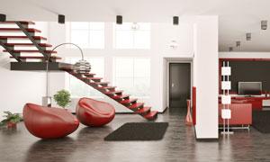 房间红色的沙发等陈设摄影高清图片