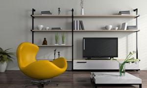 沙发椅插花与置物架等摄影高清图片