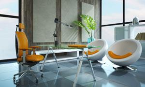房间里的沙发桌椅与无框画高清图片