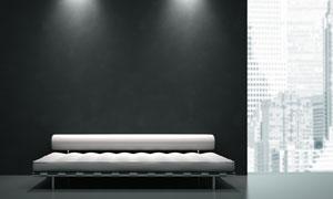 在灯光下的沙发椅渲染设计高清图片
