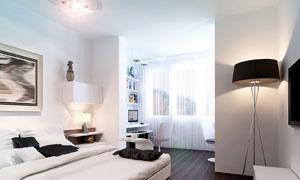 明亮卧室内部陈设布置摄影高清图片