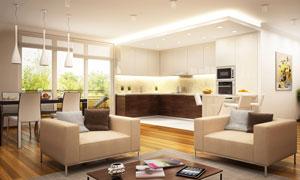 会客室与开放式厨房等摄影高清图片