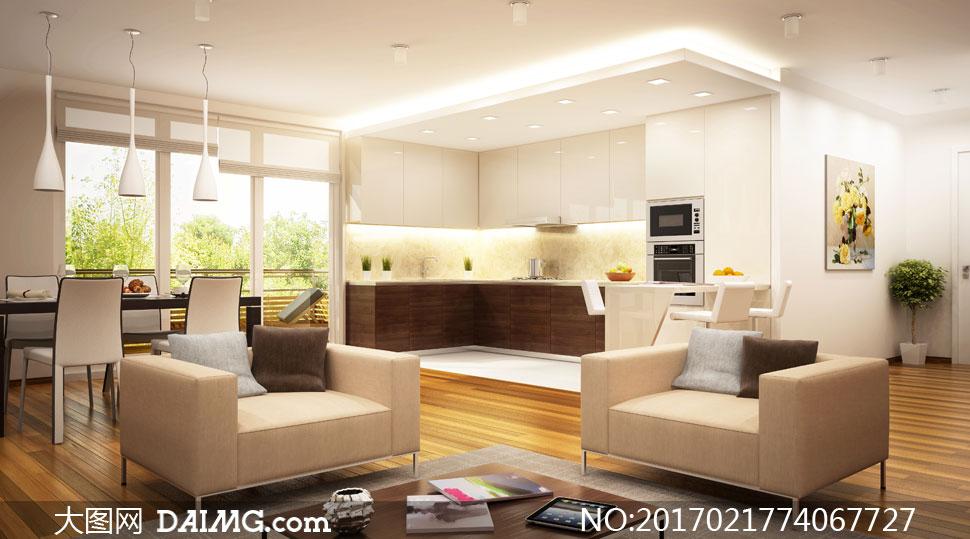 客厅窗户木地板沙发灯光吊灯灯具植物装饰画无框画