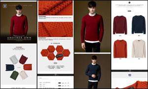 淘宝红色毛衣详情页模板PSD素材