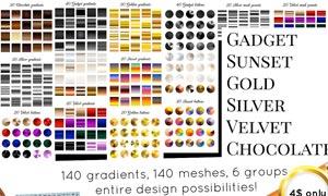 140款金色和银色质感AI渐变