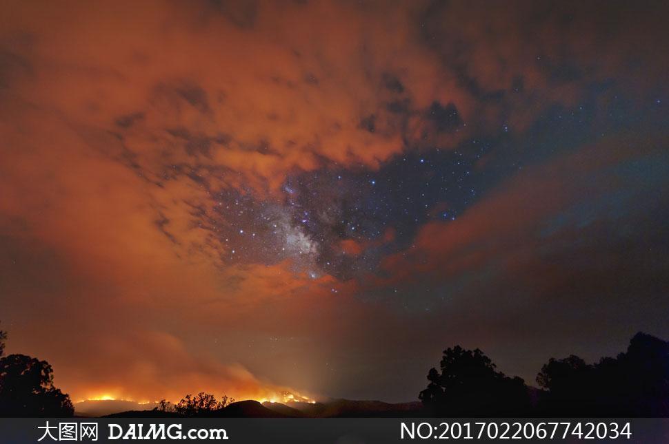 高清大图图片素材摄影夜晚夜景树木树林