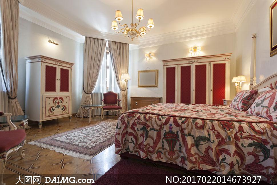 欧式豪华风格卧室内景摄影高清图片