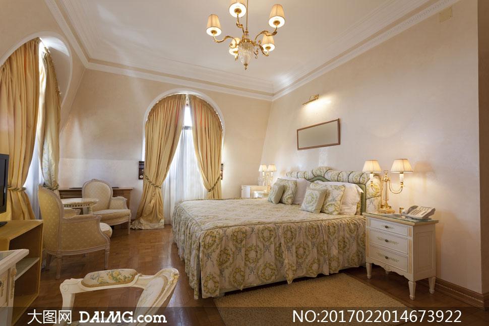 欧式卧室房间里的布置摄影高清图片