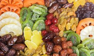 五彩缤纷的水果干特写摄影高清图片
