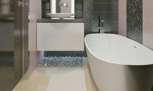 卫生间内的浴缸等卫浴设施高清图片