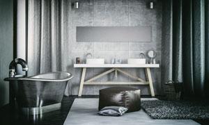 美式工业装潢风格浴室摄影高清图片
