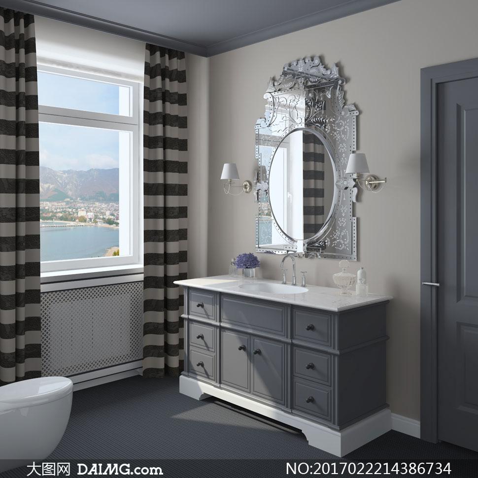 卫生间洗手间镜子窗帘壁灯台盆水龙头浴室柜马桶窗户