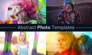 照片添加抽象光线特效PSD模板