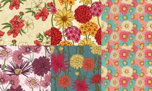 无缝效果花朵图案背景矢量素材集V2