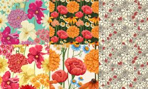 无缝效果花朵图案背景矢量素材集V3