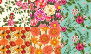 无缝效果花朵图案背景矢量素材集V4