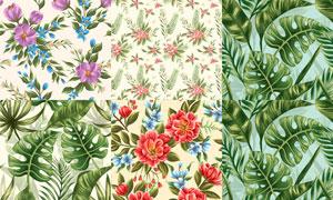 无缝效果花朵图案背景矢量素材集V7