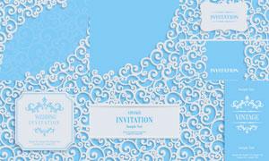 蓝白色的质感浮雕效果花纹矢量素材