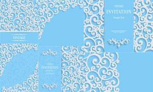 浮雕效果花纹装饰图案边框矢量素材