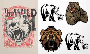 黑白效果等熊头图案创意矢量素材V1