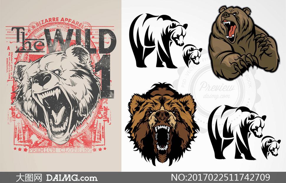 关 键 词: 矢量素材矢量图设计素材创意设计图案熊头黑白凶狠猛兽动物