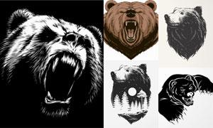黑白效果等熊头图案创意矢量素材V2