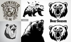 黑白效果等熊头图案创意矢量素材V3
