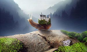 创意的蜗牛驮着城堡场景PS教程