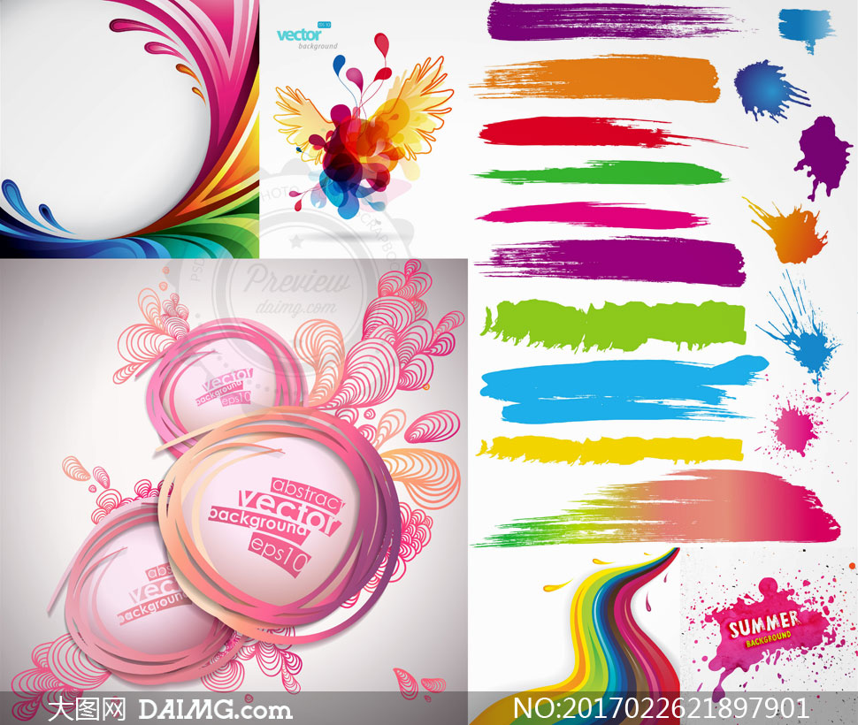 素材信息          花纹图案与缤纷喷溅颜料等矢量