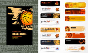 篮球体育运动主题BANNER矢量素材