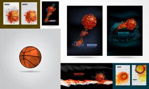 低多边形元素装饰的篮球等矢量素材