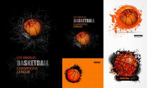 橙色篮球体育运动主题创意矢量素材