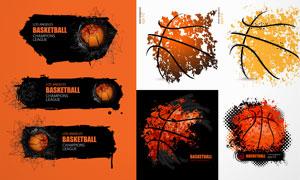 颓废边框与橙色的篮球创意矢量素材