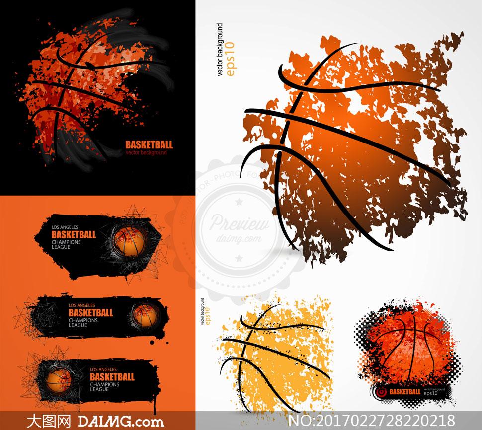 矢量素材矢量图设计素材创意设计体育运动篮球抽象