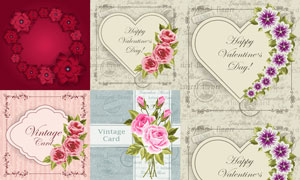 玫瑰花与桃心边框创意设计矢量素材