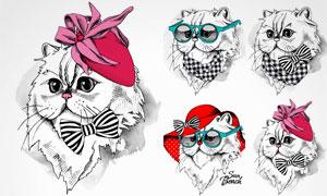 手绘风格各种猫咪创意矢量素材V1
