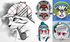 手绘风格各种猫咪创意矢量素材V2