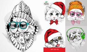 手绘风格各种猫咪创意矢量素材V3