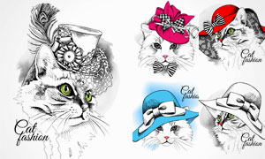 手绘风格各种猫咪创意矢量素材V5
